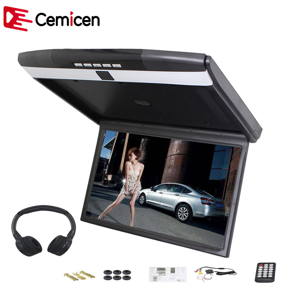 Cemicen 15 6 Inch Car Roof Flip Down Mount Monitor LED Screen Support IR FM Transmitter
