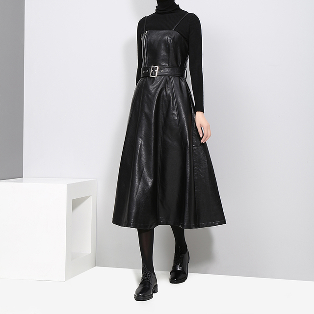 VeryYu 2020 England Style Black Faux Leather Sleeveless Party Dress Fashion  VeryYu the Best Online Store for Women Beauty and Wellness Products