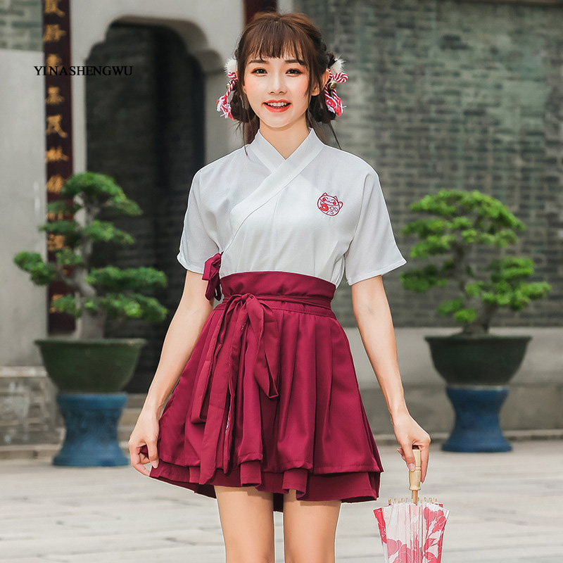 Hanfu Costume Dress Women Improved Hanfu Daily Short Sleeve Hanfu Embroidered Crossdresses Costumes Han Elements Student Set 13