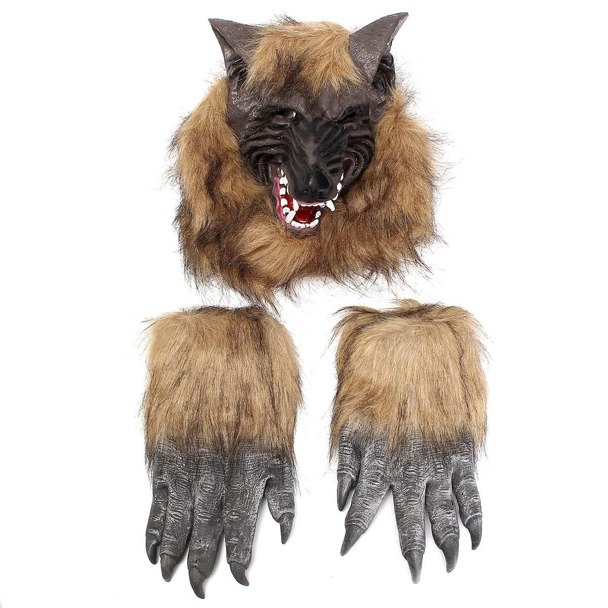 Cabeza de animal manos guantes lobo látex máscara de horror de halloween prop co
