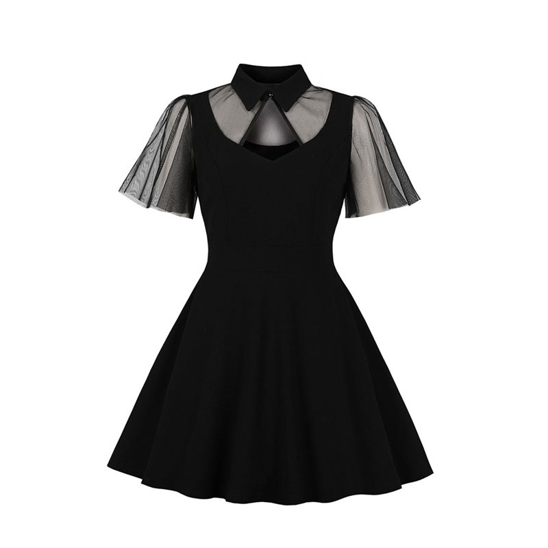 Black Elegant Dinner Party Gothic Vintage Women Mini Dresses Sexy Lapel Hollow Mesh Sweet Plus Size Retro Goth Female Dress 2019