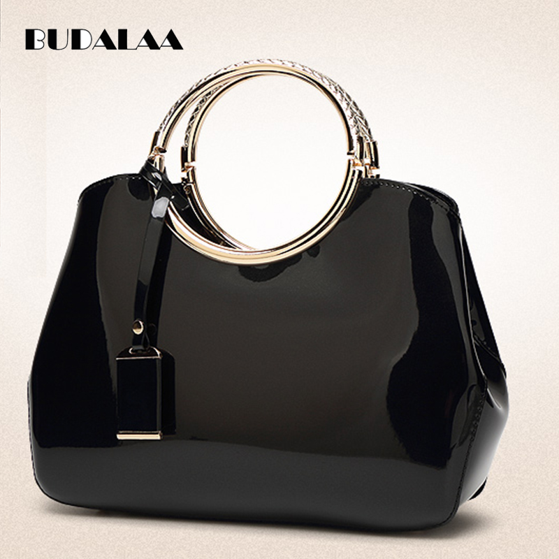 national chinese style handbags patent leather bag tote bolsa bags new fashion flowers ladies printing women female handbag Budalaa Women Handbag Patent Leather Bag Brand Tote Female Style Evening Bags Zipper High Quality Bag Gift for Fashion Women