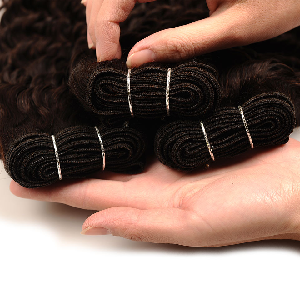 Pinshair Deep Wave Indian Hair 3 Bundles With Closure Brown Color 4 Non Remy 100 Thick Human Hair Weft Hair Bundles With Closure (64)