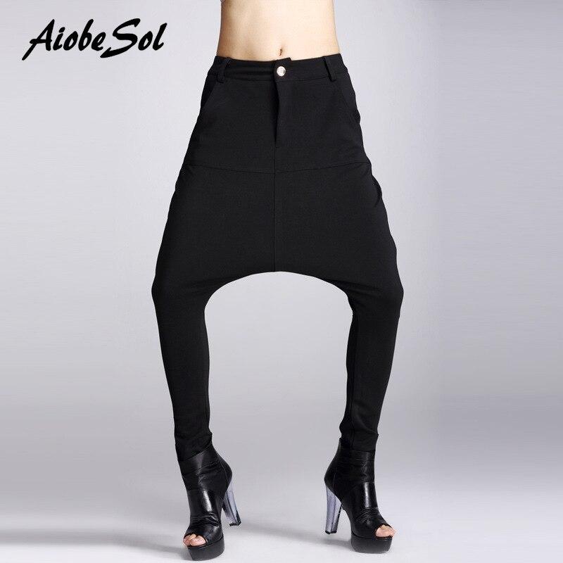 Lápiz Negros Holgados Danza Femenina Bolsillos Mujer Primavera Negro Entrepierna Hip Otoño Pantalones 2016 Harem Hop Moda Gran zOIZqw