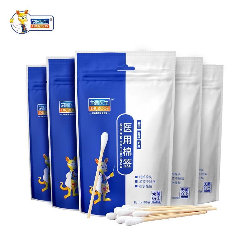 DR.ROOS 100Pcs 8cm Disposable Cotton Swab Medical Cure Health Individual Home Cotton Soft Swab Stick