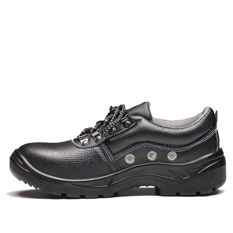 ФОТО new arrival large size 45 46 women breathable black steel toe cap work safety shoes genuine leather site tooling boots zapatos