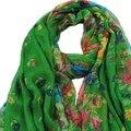 IMC Primavera Outono verde Escuro Grande Macio Longo Lenço das Mulheres Lenços de Impressão Do Vintage 160*50 cm