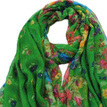 IMC Women's Spring Autumn Dark green Soft Big Long Scarf Vintage Printing Scarves 160*50cm