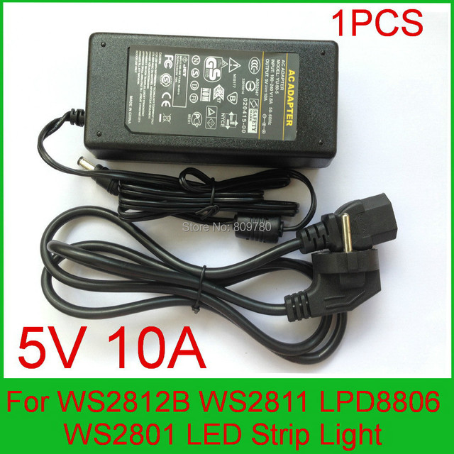 High qualityDC 5V 10A LED Power Supply For WS2812B WS2811 LPD8806 WS2801 LED Strip Light  UK,US,EU,AU plug
