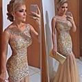 Don de champagne sirena vestidos de novia sin espalda 2016 oro rebordear brillante vestido de noche party dress larga de baile vestido vestido formatura