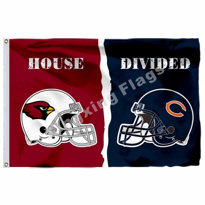Arizona Cardinals Chicago Bears Helmets House Divided Flag 3ft X 5ft Polyester NFL1 Banner Size No.4 144*96cm Custom Flag