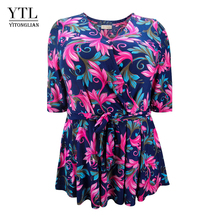 YTL Spring Autumn Elegant Plus Size 6XL 5XL Feminine Blouse Wrap Flower Print Half Sleeve Belt Slim Women Tunic Tops M-8XL H112