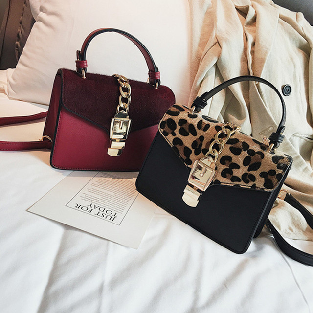 2018 Fashion Famous Designer Brand  Women Fake Animal Fur Handbags Leopard Buckets Shoulder Bag CrossBody Messenger Bags