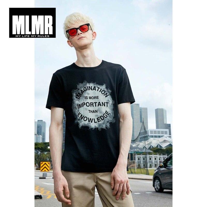3b435eebba91 BIG SALE  CHEAP MLMR Men s Slim Fit Letter Printed T-shirt Crew Neck ...