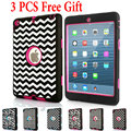 For iPad mini 1/2/3 &Ipad2/3/4 Case Dot Zebra Wave Kids Baby Safe Armor Shockproof Heavy Duty Silicone Hard  Cover +Free Gift