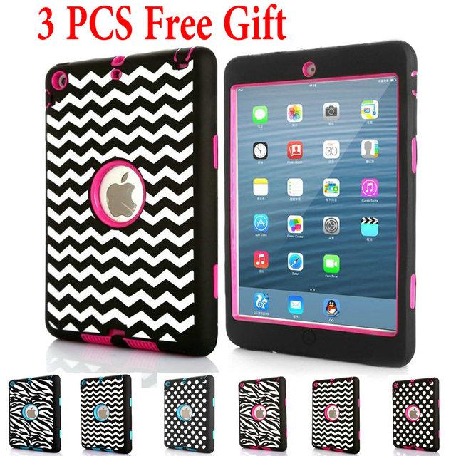 Para iPad mini 1/2/3 & Ipad2/3/4 Caso Zebra Ponto Onda Crianças bebê Seguro À Prova de Choque Armadura Heavy Duty Silicone Hard Cover + Free presente