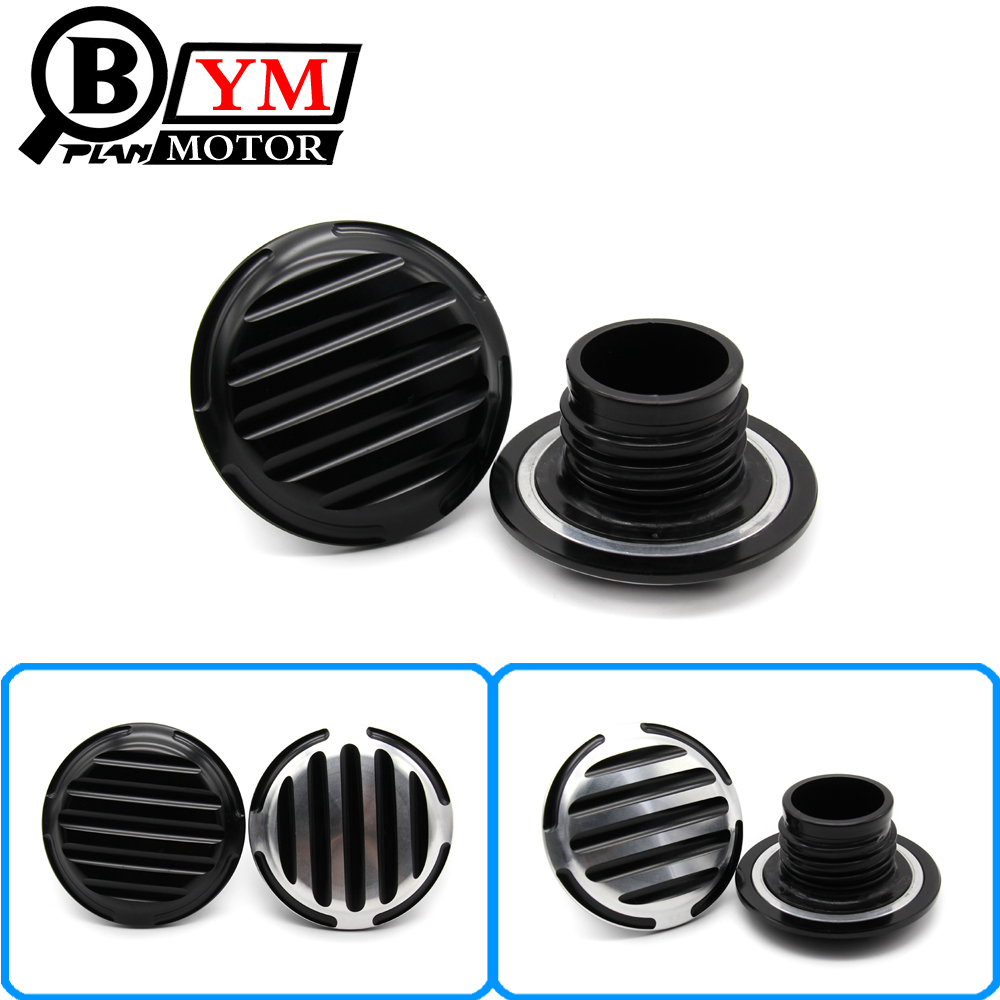 Black Finned motorcycle Fuel Gas Tank Oil Cap Cover For Harley Touring FXD FLHR FLHT FXST Sportster XL 1200 883 mp022 universal diy motorcycle decorative fuel tank cap cover golden 2 pcs