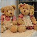30cm 2 pieces Couple Teddy Bear With Cloth Plush Stuffed Bear Toy Chrismas Gift Kids Doll