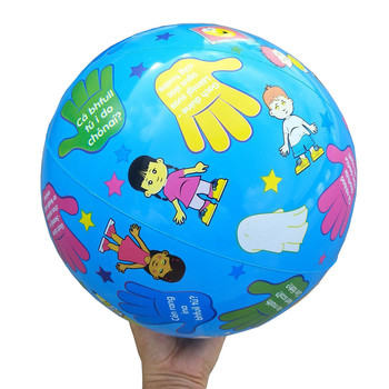 28CM Cartoon Print Rubber Ball Game Baby Kids Beach Swimming Pool Play Ball Inflatable Children Educational Soft Learning Toys