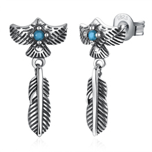 GOMAYA 925 Sterling Silver Feather Drop Earrings Vintage Eagle Punk Style Long  for Women Fine Jewelry