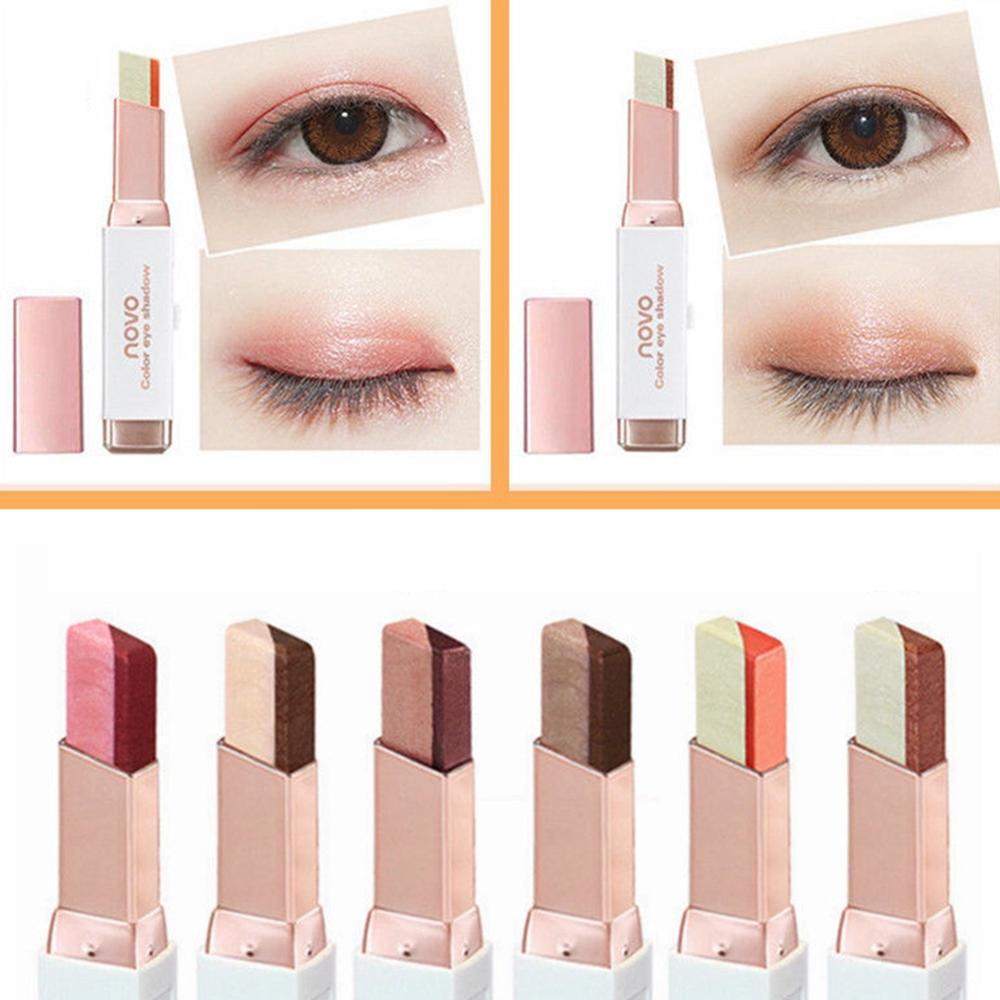 Double Color Eyeshadow Stick Stereo Gradien Shimmer Color Eye Shadow Cream Pen Eye Makeup Palette Cosmetics Smooth Makeup Pencil in Eye Shadow from Beauty Health