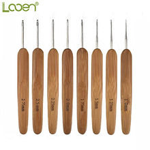 8 Pcs Looen Bamboo Crochet Hooks Set Small Lace Needles 1.0-2.75mm Knitting Handle Weave Yarn Sewing Tools