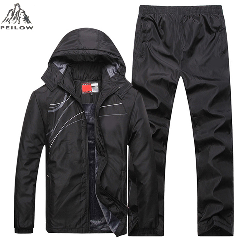 Brand Tracksuit Men Two Piece Clothing Sets Casual Winter Jacket+Pants Wool Liner Track Suit Sportswear Sweatsuits Man L~5XL