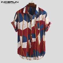INCERUN 2019 Print Beach Hawaiian Shirt Men Short Sleeve Lapel Neck Fashion Chemise Vacation Brand Shirts Casual Tops S-5XL