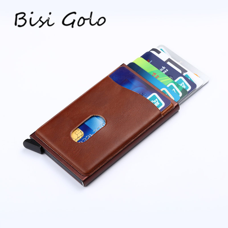 BISI GORO 2018 Card Holders Automatic Pop Up Credit Card Holder RFID High Quality Business Aluminum Card Wallet Travel Purse ...