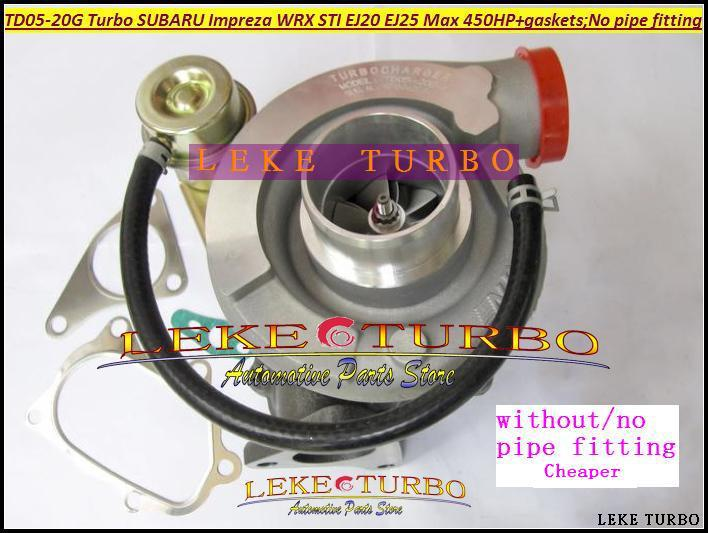 Wholesale Turbo TD05-20G TD05-20G-8 TD05 20G Turbocharger For SUBARU Impreza WRX STI EJ20 EJ25 MAX 450HP Gaskets;no Pipe fitting  hosingtech for subaru impreza wrx grb ej25 07 ver 10 silicone turbo kit