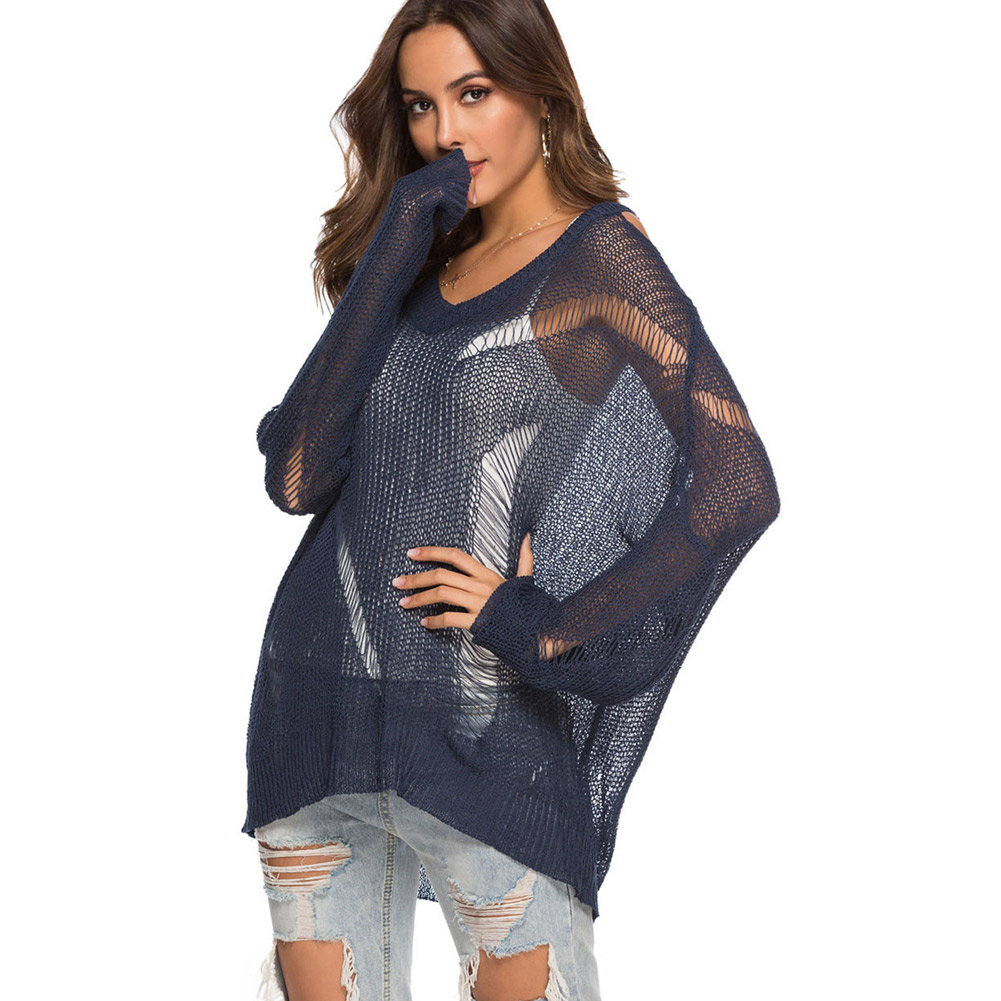 1 Pcs Women Lady Knitting Sweater Long Sleeve V Neck Hollow Loose Fashion Clothing FS99