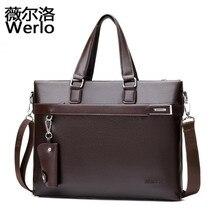 WERLO Brand Business Casual Men's Handbag Men Briefcase File Package Black Leather Shoulder Laptop Bags Male Bolsa Mochila SJ119