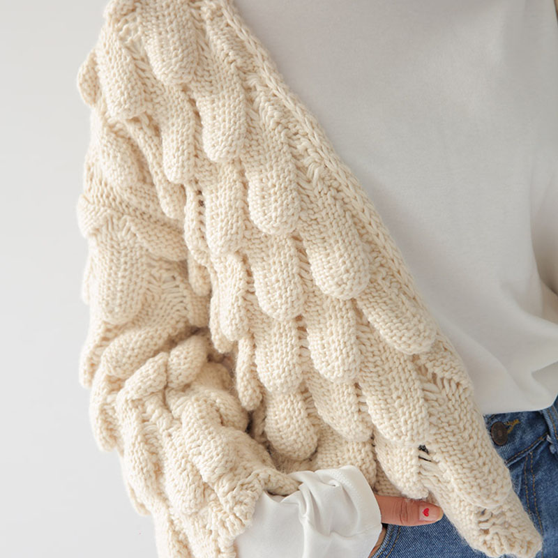 3D Crochet Cardigan Corto Invierno de Las Mujeres de Color Beige de ...