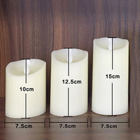 3PCS Smooth Flickering Flame LED Flameless Wax Mood Candles Home Light Romantic Candles Lights