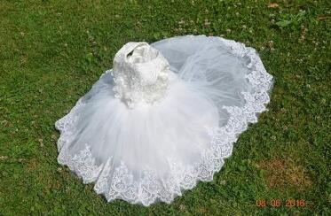 DHL gratuit en gros 5 robes de fille enfants robe de fête princesse bébé fille robe de mariée anniversaire grand arc blanc long tailing