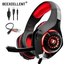 Beexcellent ชุดหูฟังสเตอริโอ Casque Deep BASS สเตอริโอหูฟังเกมพร้อมไมโครโฟน LED Light สำหรับ PS4 โทรศัพท์ PC แล็ปท็อป Gamer