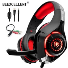 цена на Beexcellent Stereo Gaming Headset Casque Deep Bass Stereo Game Headphone with Mic LED Light for PS4 Phone PC Laptop Gamer