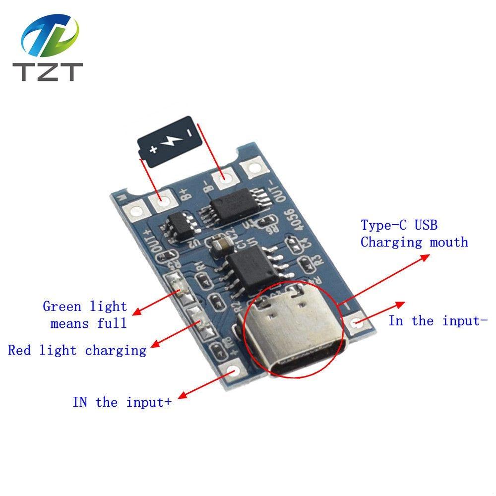 1pcs Tzt 5v 1a Type C Usb 18650 Lithium Battery Charging