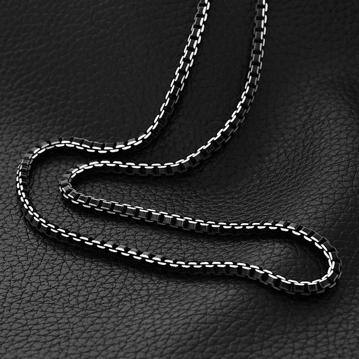 Collare Men Chain Necklace Hip Hop Box Link Chain  6mm Width 316L Stainless Steel Black Men Fashion Jewelry Gift N511