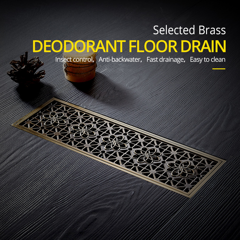 Drain 10*30CM Euro Antique Brass Art Carved Floor Drain Cover Shower Waste Drainer Bathroom Bath Accessories Strainer DL8547
