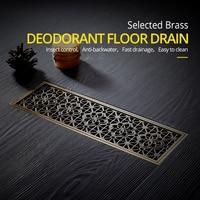 Drain 10*30CM Euro Antique Brass Art Carved Floor Drain Cover Shower Waste Drainer Bathroom Bath Accessories Strainer DL8547