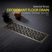 Drenaje 10*30CM Euro antiguo latón arte tallado suelo drenaje cubierta ducha residuos escurridor baño accesorios colador DL8547
