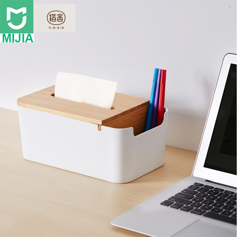 New Xiaomi Mijia Bamboo Fiber Tissue Box Stationery Makeup Container Desktop Storage Box for Office Smart