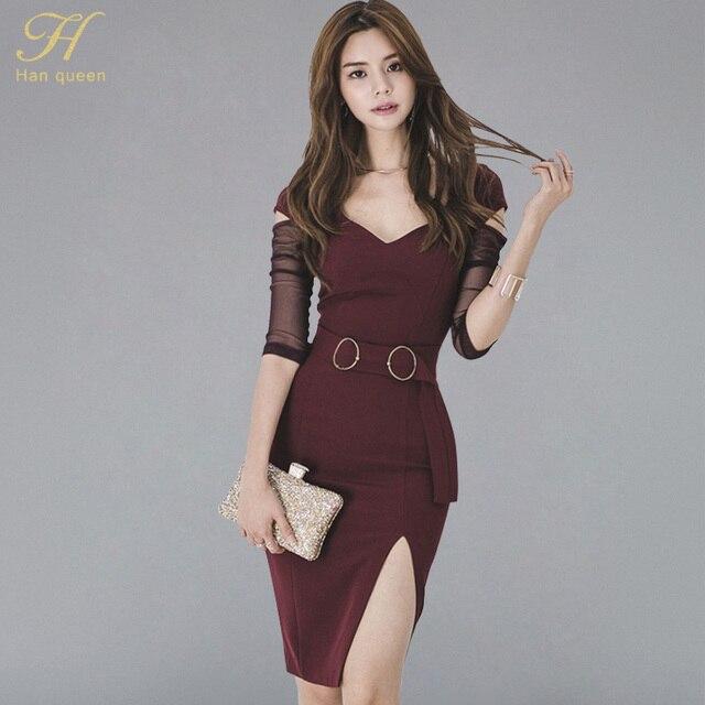 e3edf5a8e H Han Queen Sexy otoño ceñido al cuerpo Vestido Mujer 2018 malla ver a  través de