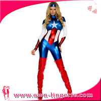 M,XL Sexy cheap online shop costume,supergirl costume with vinyl material,star Captain America movie cosplay catsuit costume