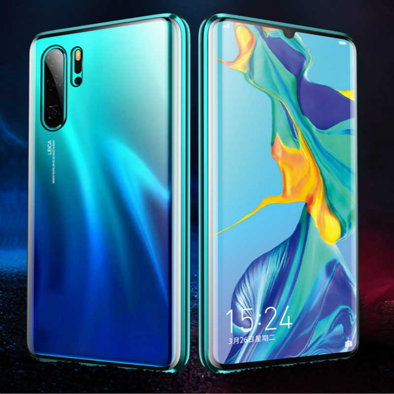 Mzxtby Magnetic Adsorption Metal Glass Case for Xiaomi Mi 9 Se Redmi Note 7 Pro Clear Glass Front+back Double sided Cover Case