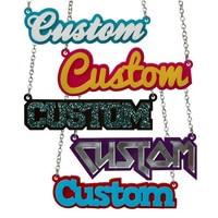 Лазерная резка акриловая именная табличка слово пользовательское имя ожерелье персонализированное ожерелье массивные ювелирные изделия ...