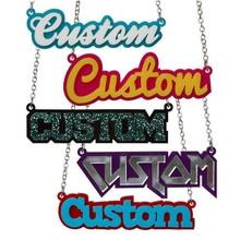 Placa con nombre de acrílico cortada con láser, collar con nombre personalizado, joyería con estilo Hip hop C7