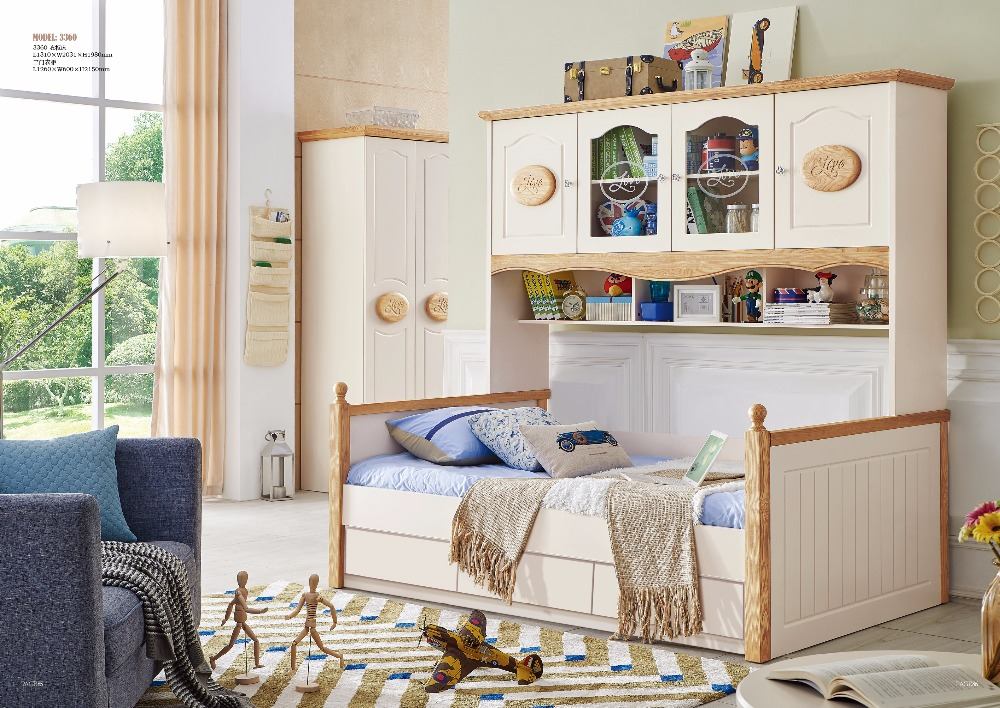 JLMF3360 Ash wood children bedroom furniture solid wood children bed with storage cabinet drawers