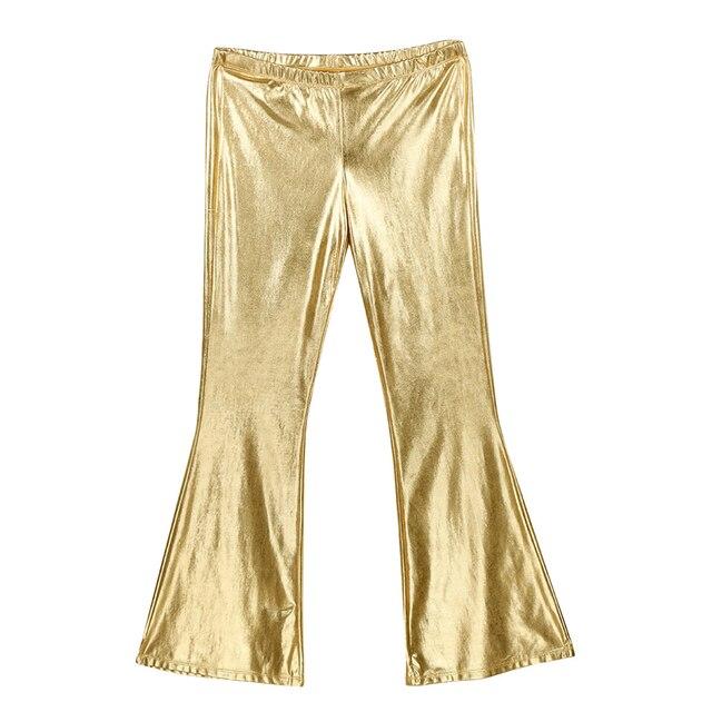Sexy Fashion Faux Leather Pants Skinny Mens Bottoms Shiny Metallic Disco Flare Pants Bell Bottom Trousers Elastic Waist Pants 4